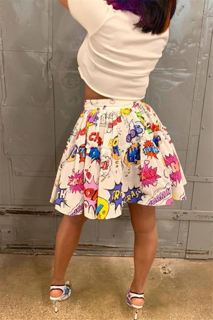 Cartoon Print High Waist Pleated Mini Skirt