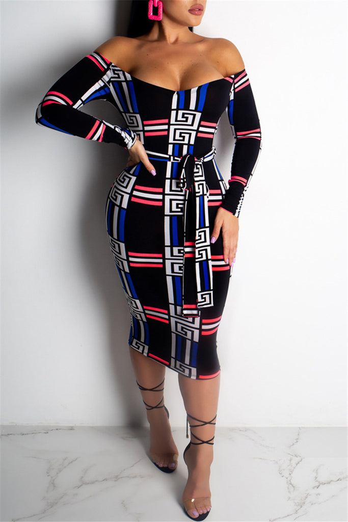 Off the Shoulder Long Sleeve Printed Dress