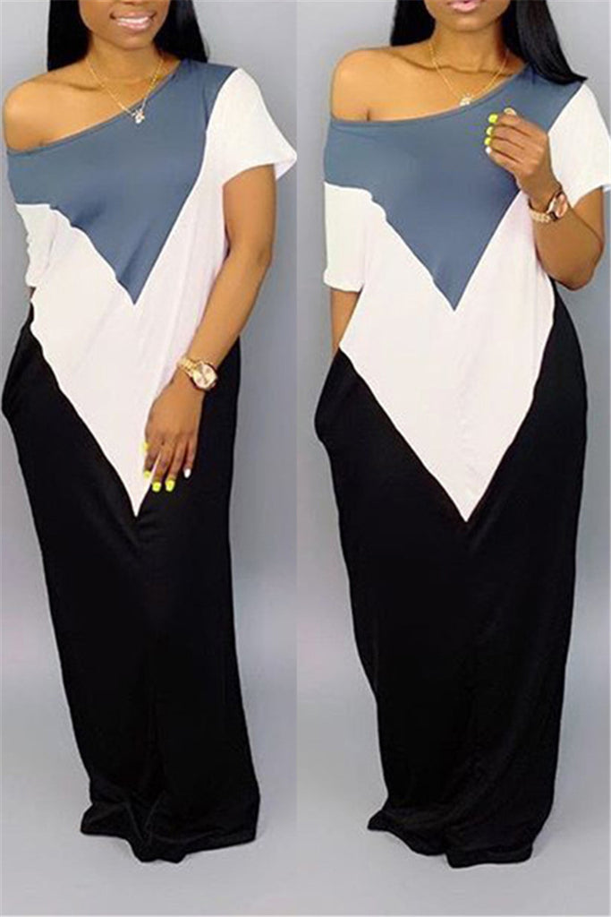 Color Block Skew Neck Short Sleeve Maxi Dress
