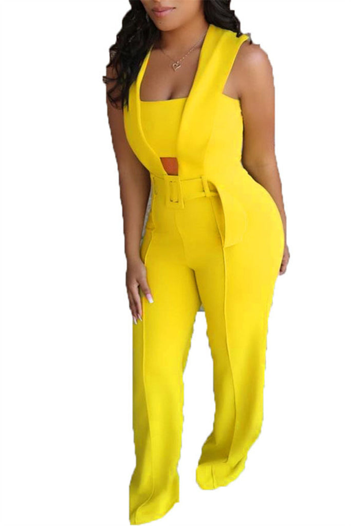 Solid Color Sleeveless Jumpsuit With Belt