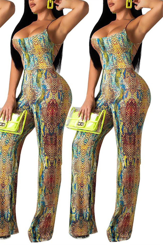 Snake Print Open Back Sleeveless Sexy Jumpsuit