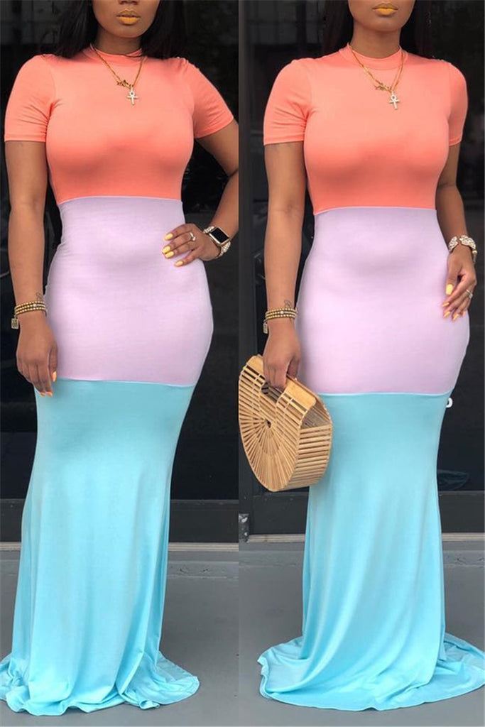 Color Block Short Sleeve Casual Maxi Dress