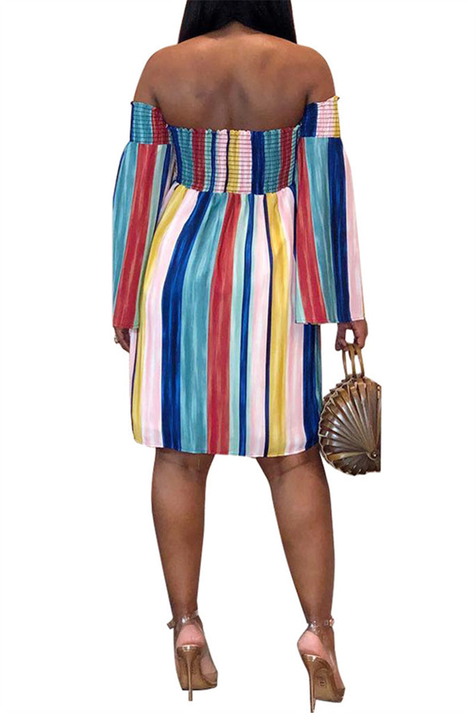 Off the Shoulder Stripe Print Mini Dress