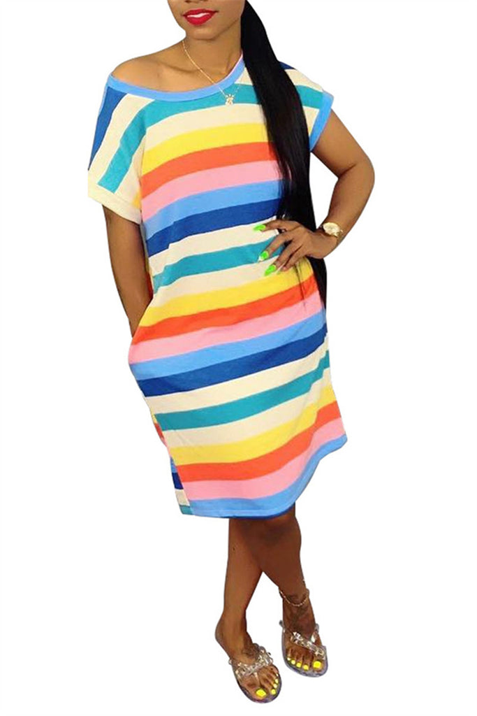 Rainbow Stripe Short Sleeve Pocket Casual Dress