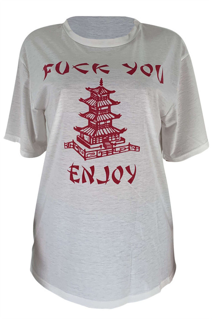 Letter Print Short Sleeve Casual T Shirt