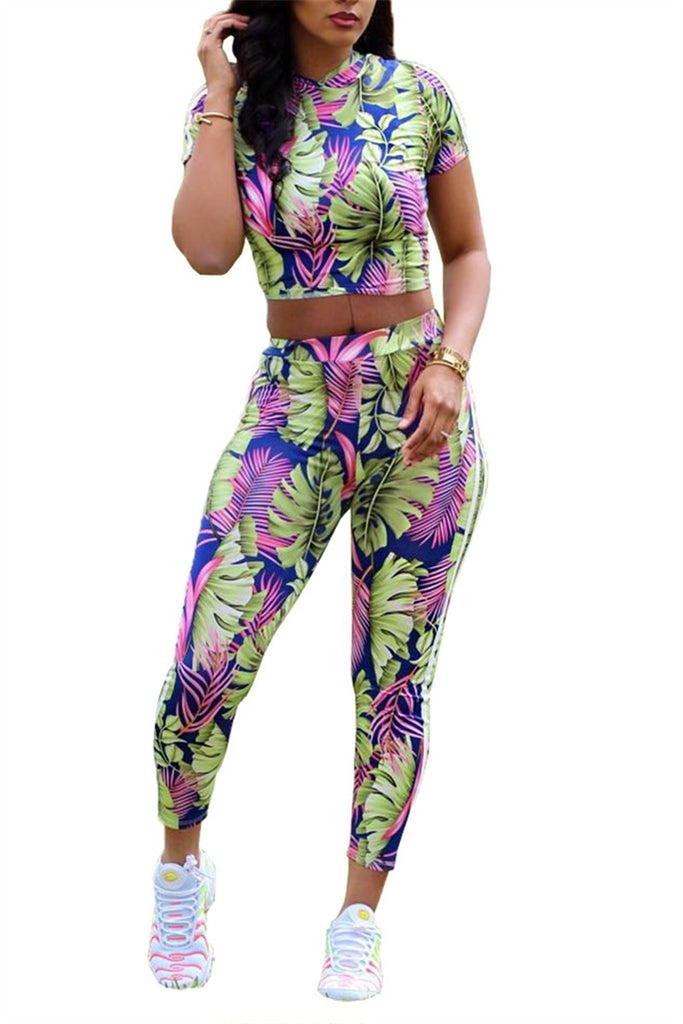 Leaf Print Short Sleeve Casual Two Piece Sets
