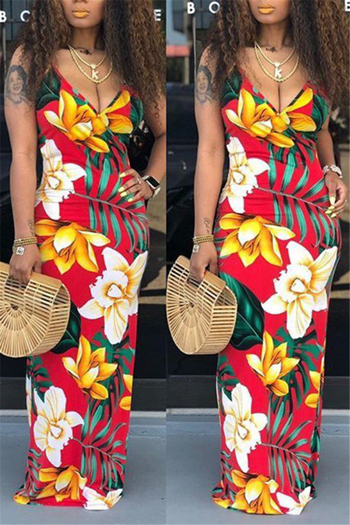 Open Back V Neck Printed Maxi Dress