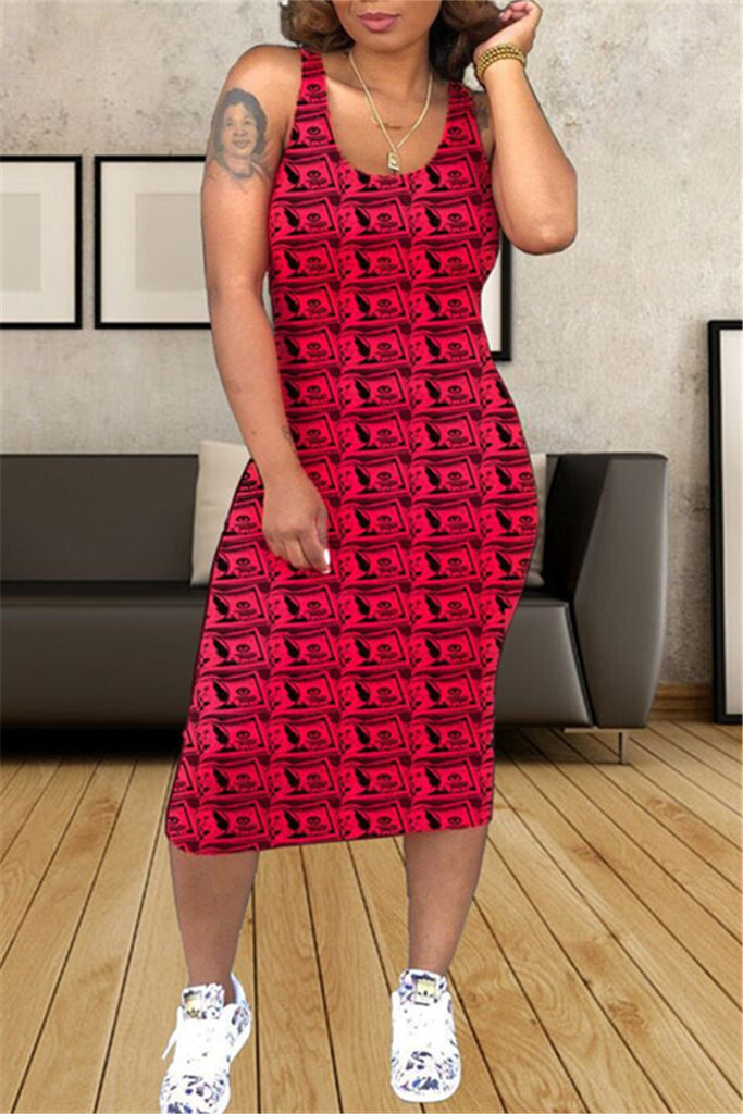 Dollar Print Sleeveless Midi Dress