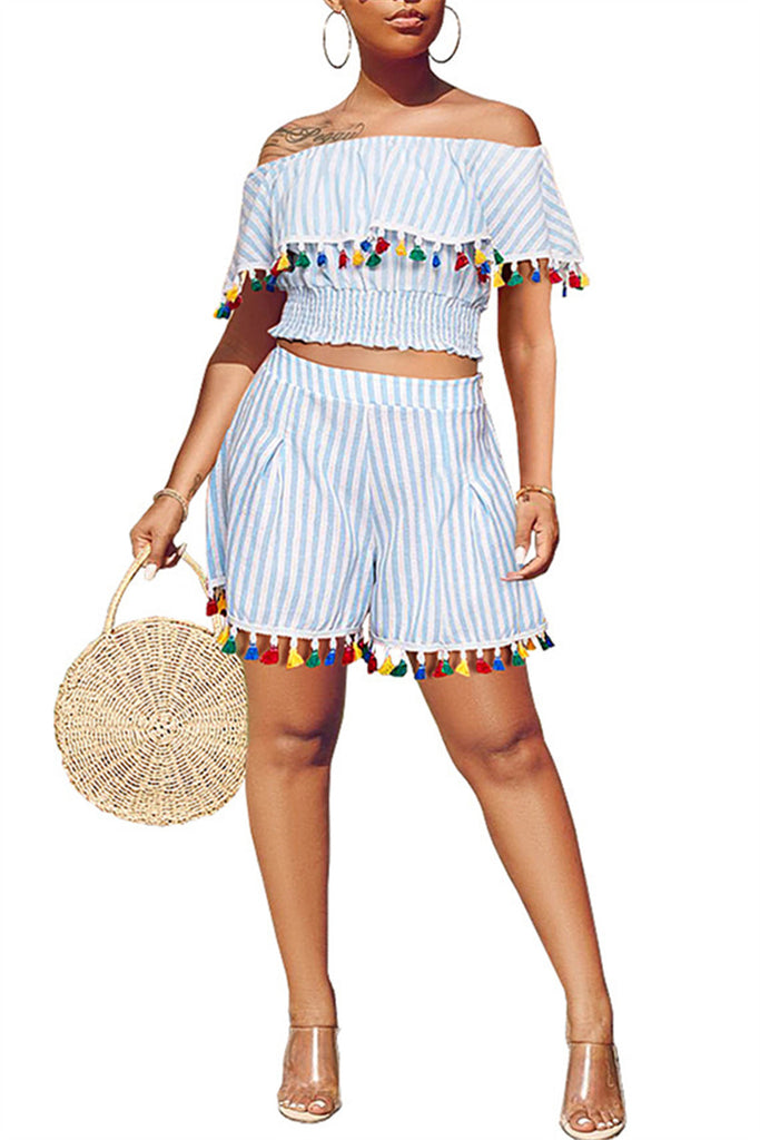 Tassels Off the Shoulder Striped Top & Shorts