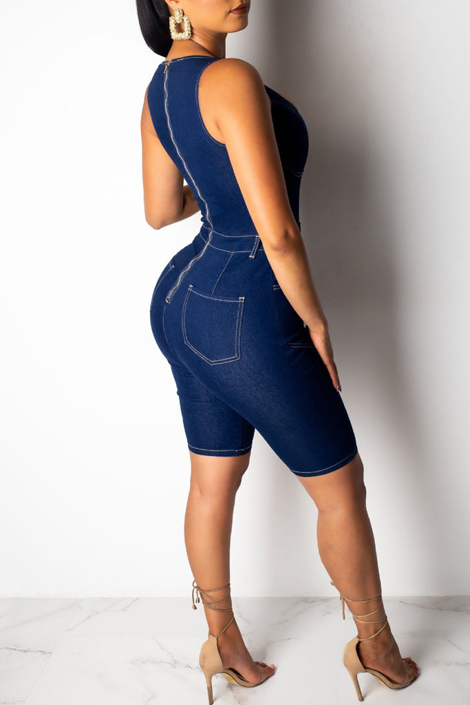 Denim Scoop Neck Solid Sleeveless Romper