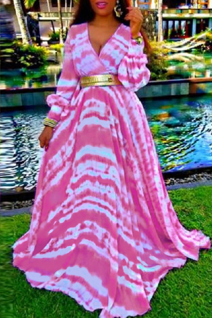 Print V-neck Long Sleeve Maxi Dress Without Belt