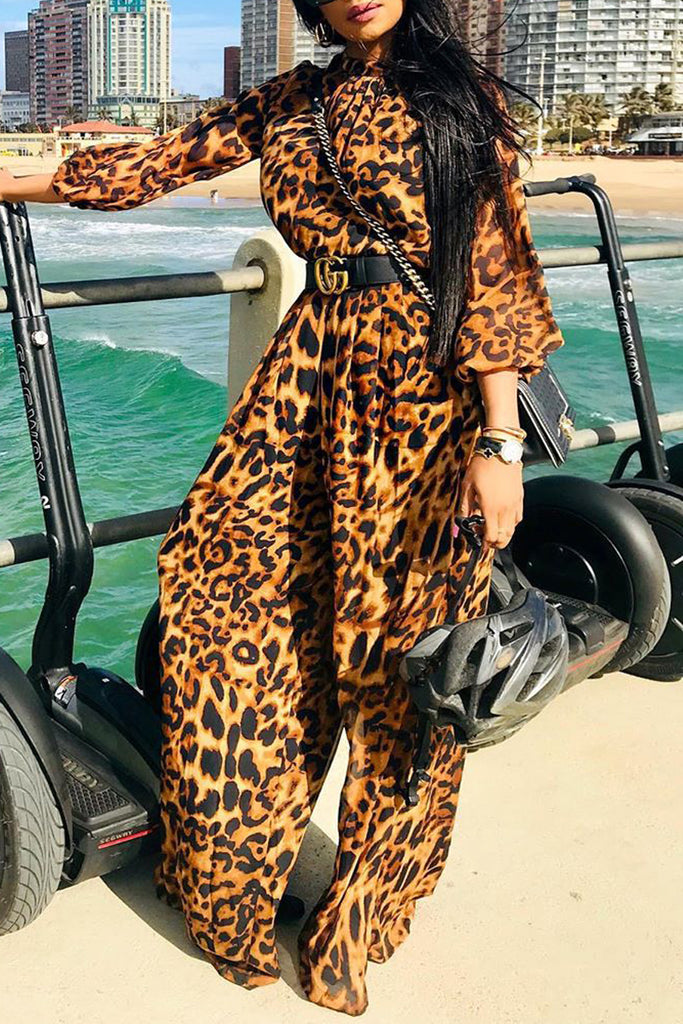 Leopard Print Long Sleeve Jumpsuit Without Belt