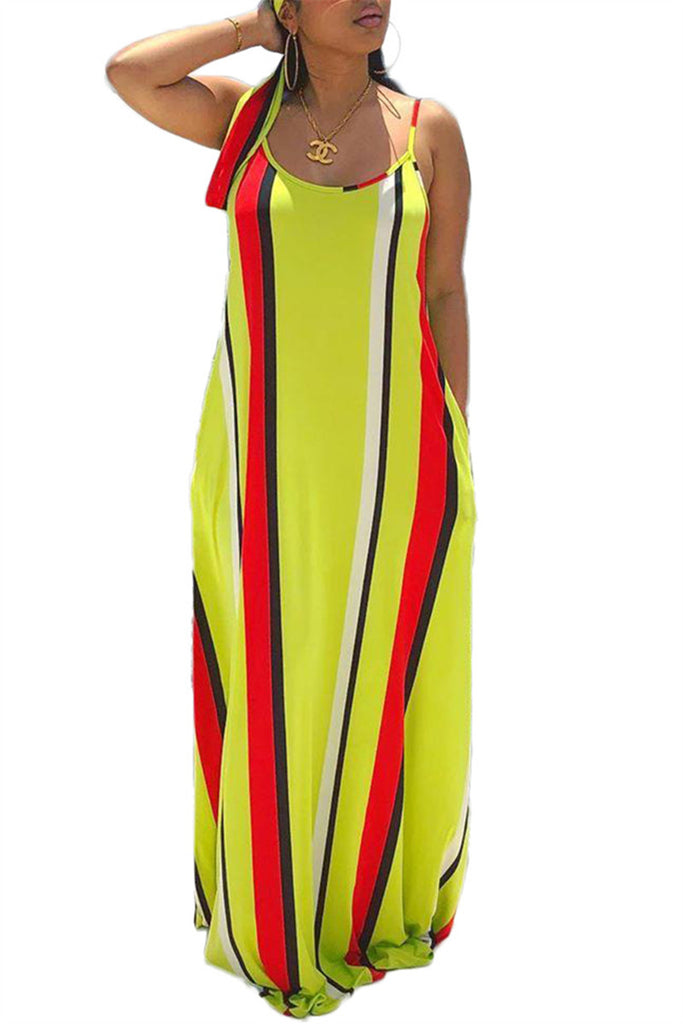 Spaghetti Straps Stripe Print Maxi Dress