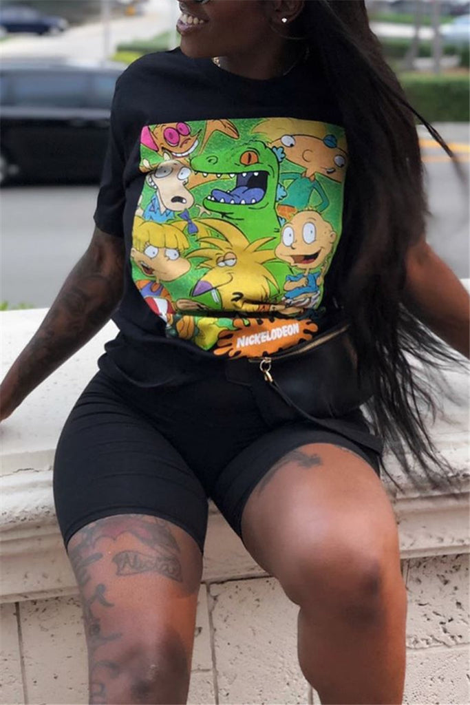Cartoon Print Short Sleeve Casual Top & Shorts