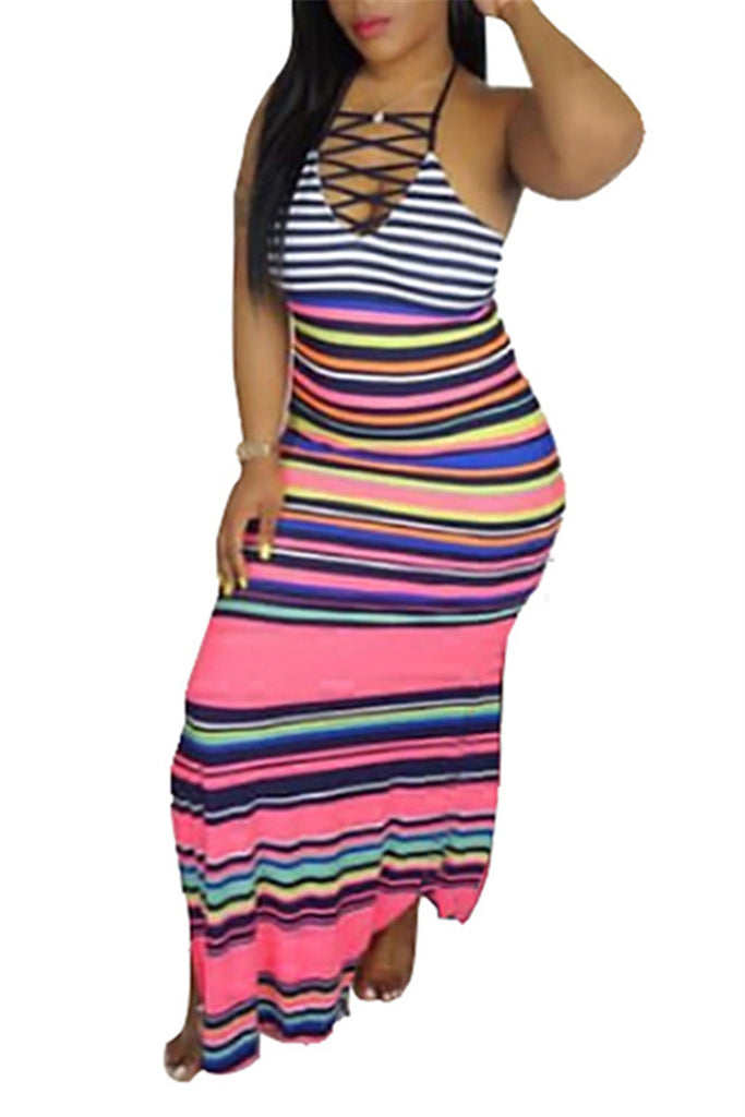 Lace Up Open Back Striped Maxi Dress