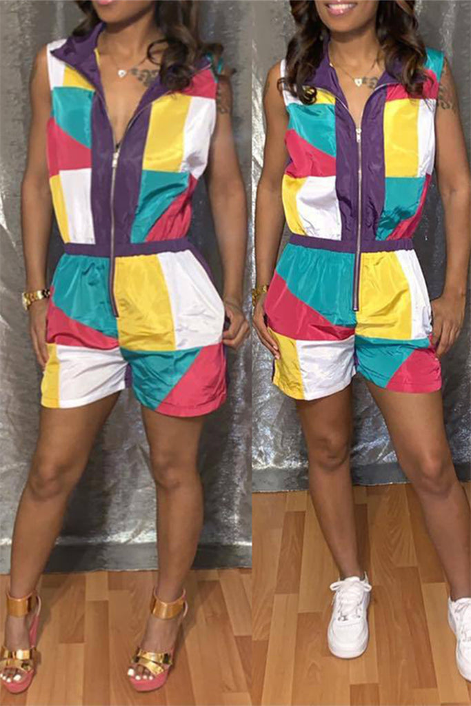 Color Patchwork Zip Up Sleeveless Romper