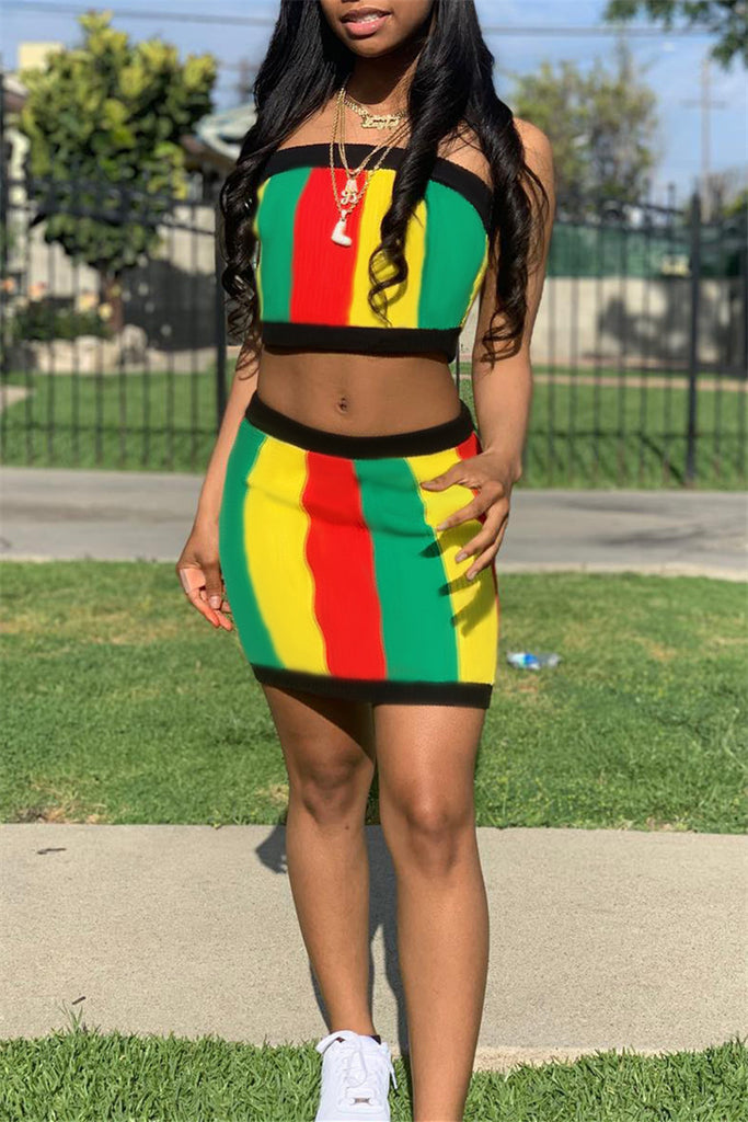 Rainbow Stripe Strapless Two Piece Dress