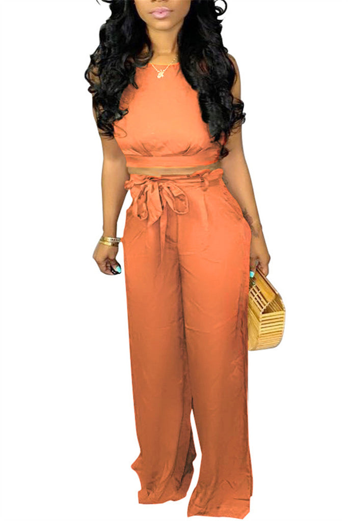Spaghetti Straps Solid Color Top & Pants