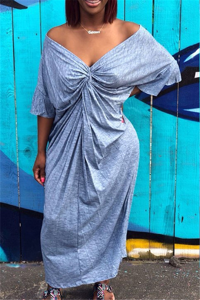 Twisted Solid Color Casual Maxi Dress