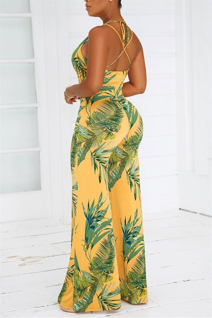 Open Back Leaf Print Jumpsuit