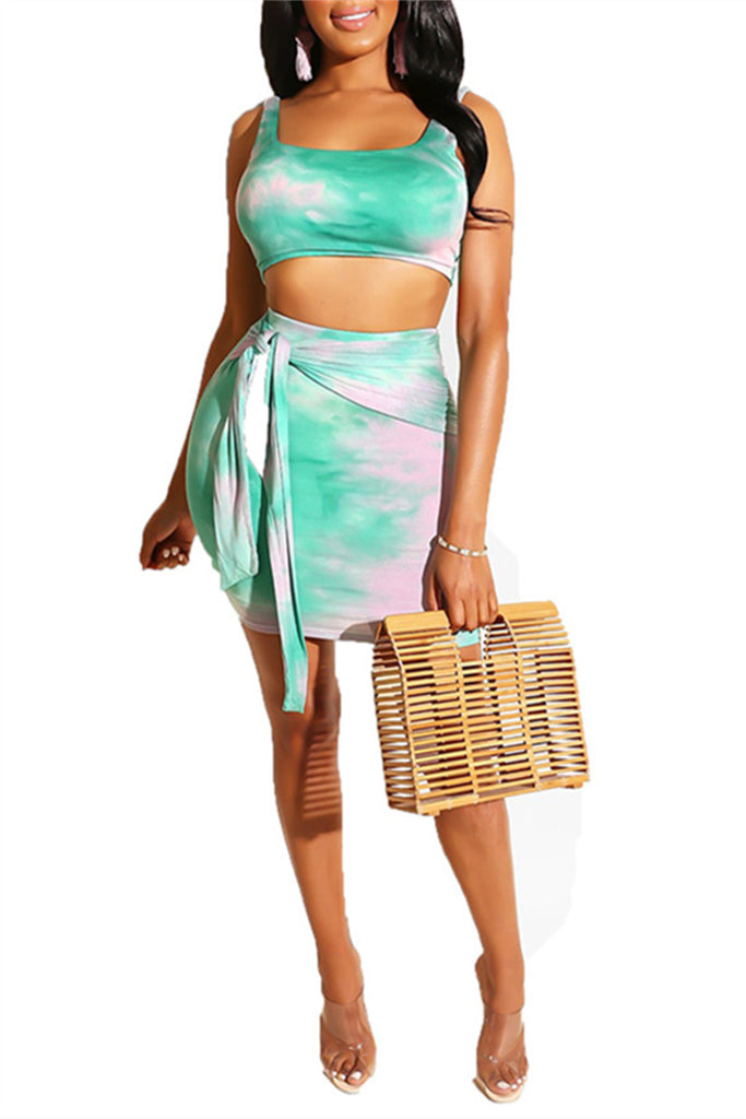 Tie Dye Print Sleeveless Two Piece Dress