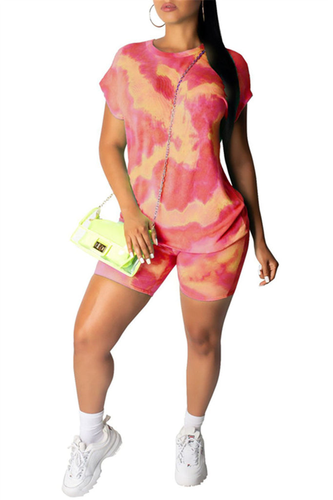 Tie Dye Print Short Sleeve Top & Shorts