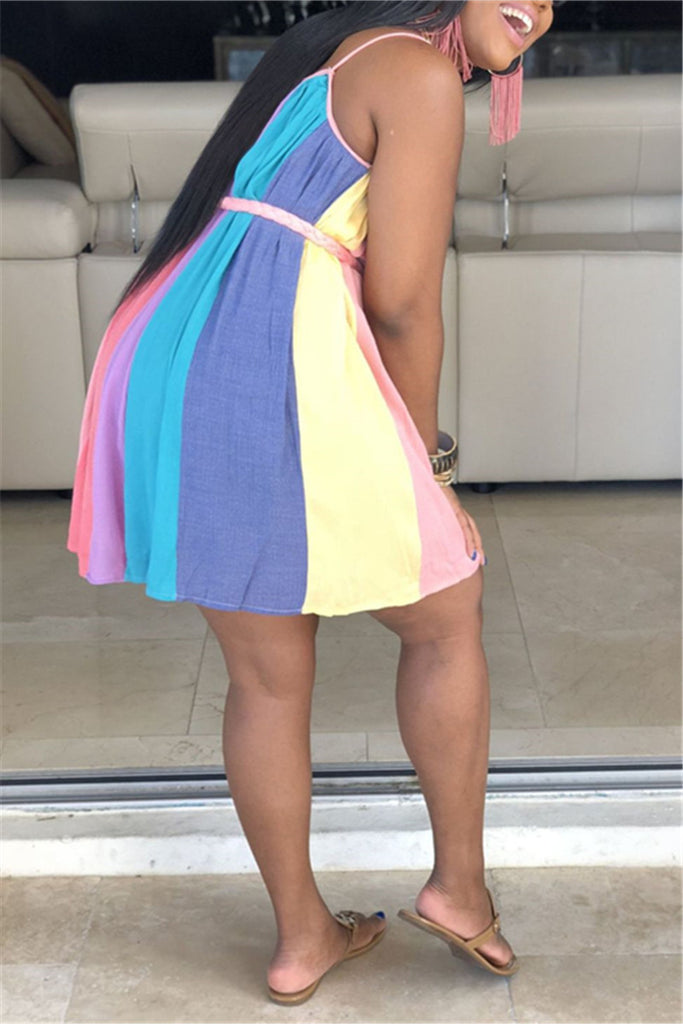 Colorful Stripe Sleeveless Mini Dress