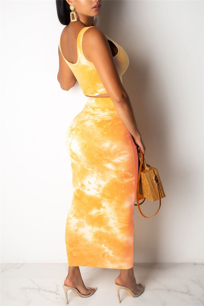 Sleeveless Tie Dye Two Piece Dress
