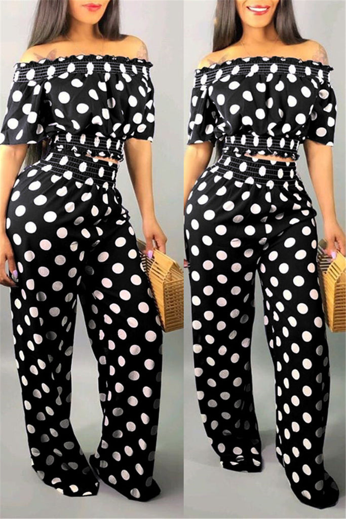 Polka Dot Off the Shoulder Top & Pants
