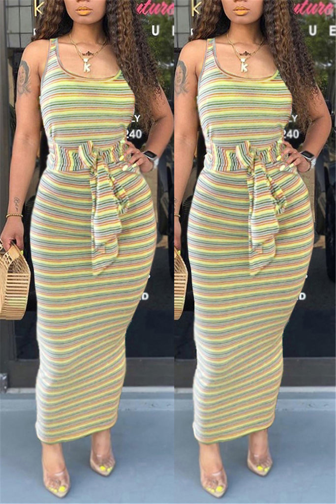 Tie Up Stripe Print Sleeveless Maxi Dress