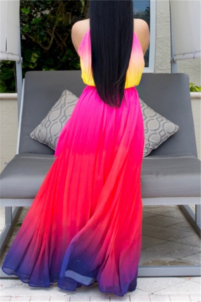 Ombre Print Sleeveless Maxi Dress
