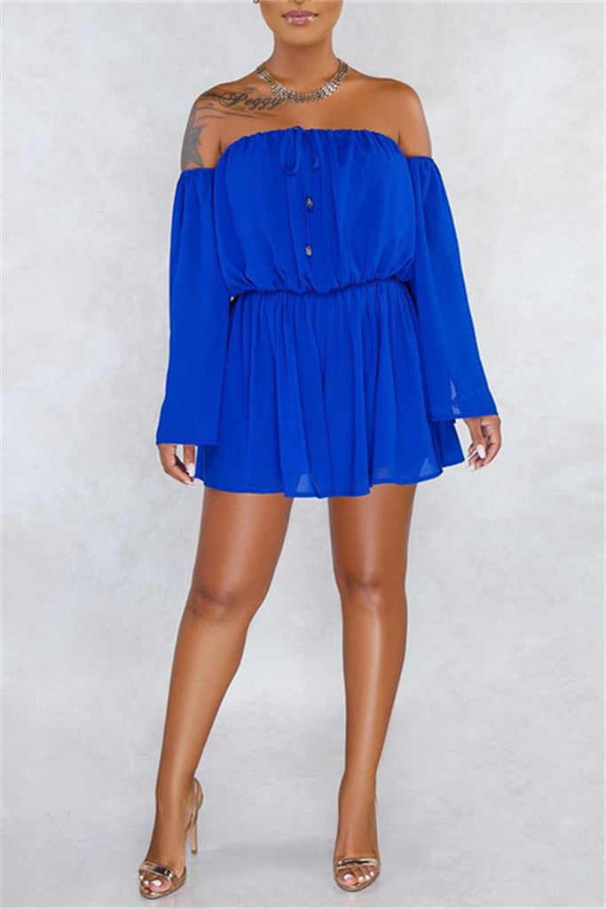 Off the Shoulder Split Sleeve Mini Dress