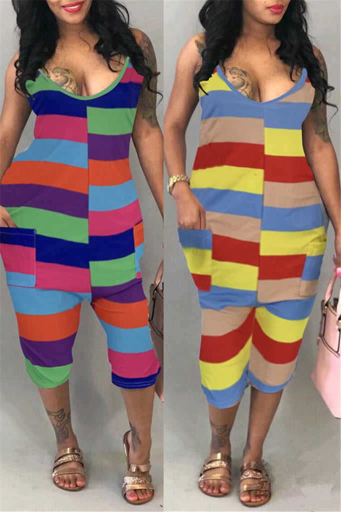 Rainbow Stripe Sleeveless Pocket Jumpsuit