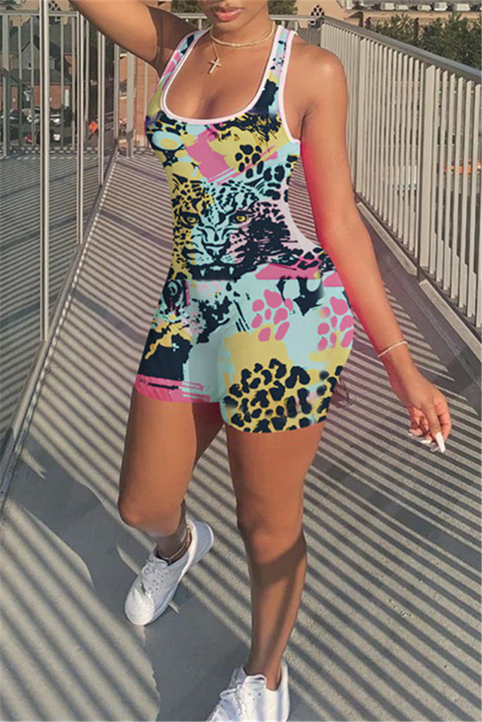 Scoop Neck Sleeveless Printed Romper