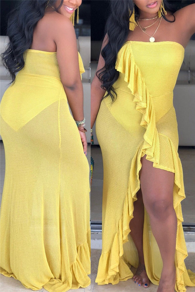 Ruffled Solid Color Strapless Slit Dress
