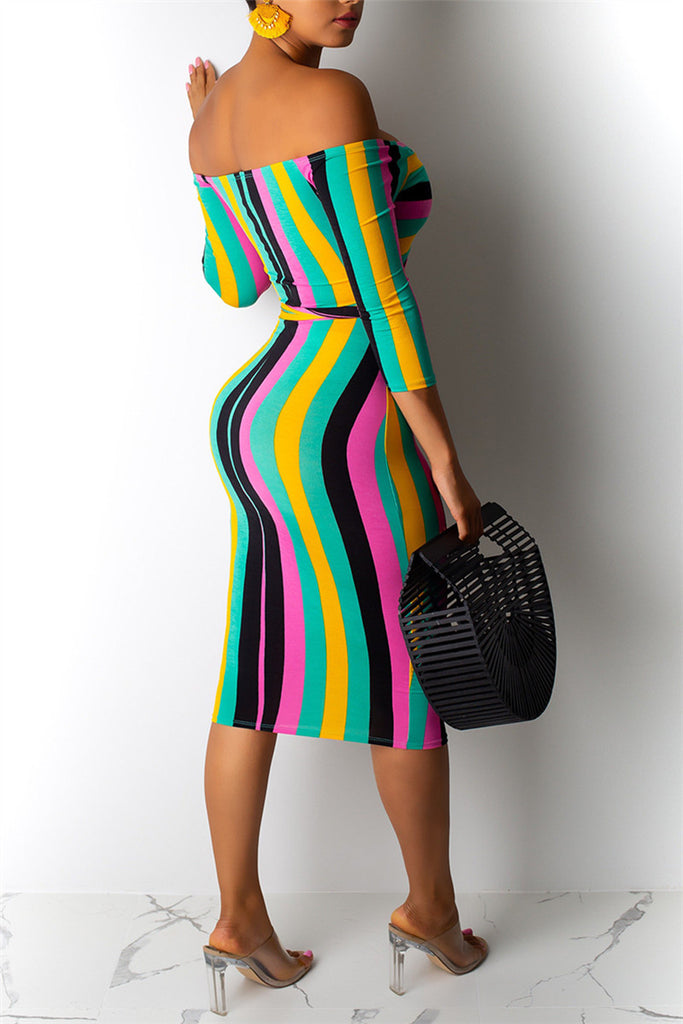 Off the Shoulder Striped Sexy Dress
