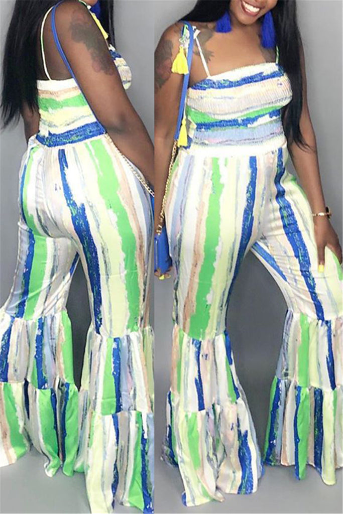 Open Back Stripe Print Flare Jumpsuit