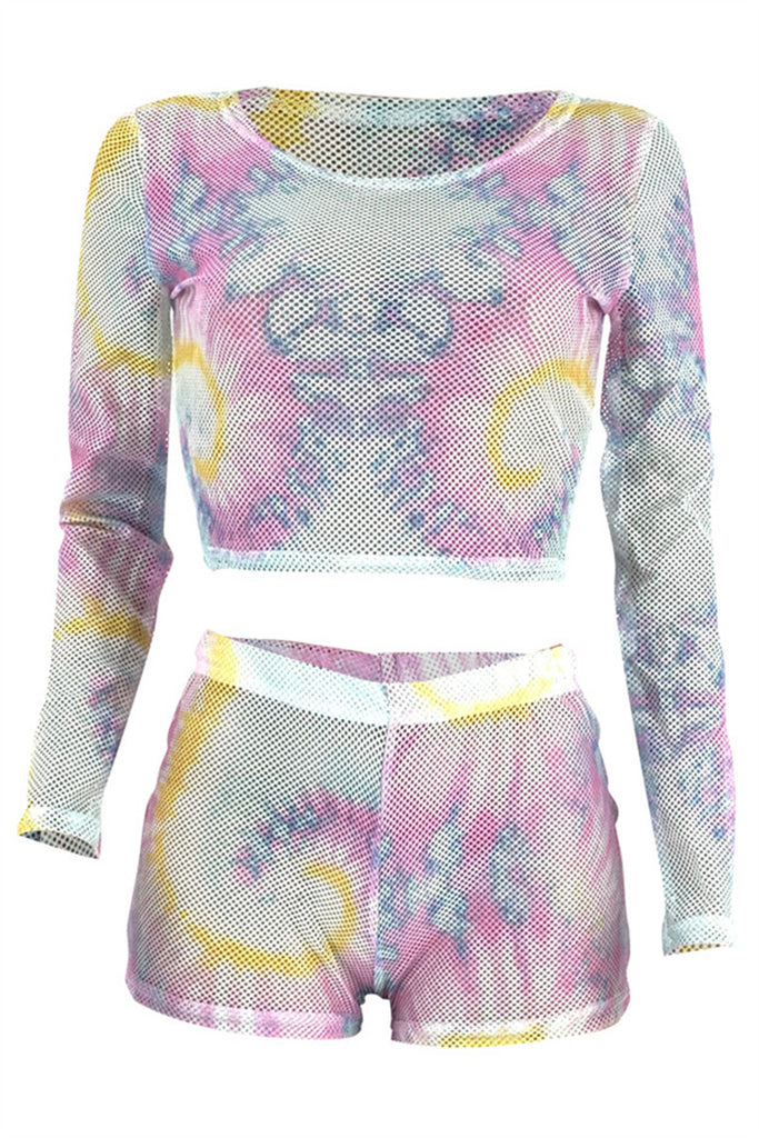 Semi Sheer Tie Dye Two Piece Sets