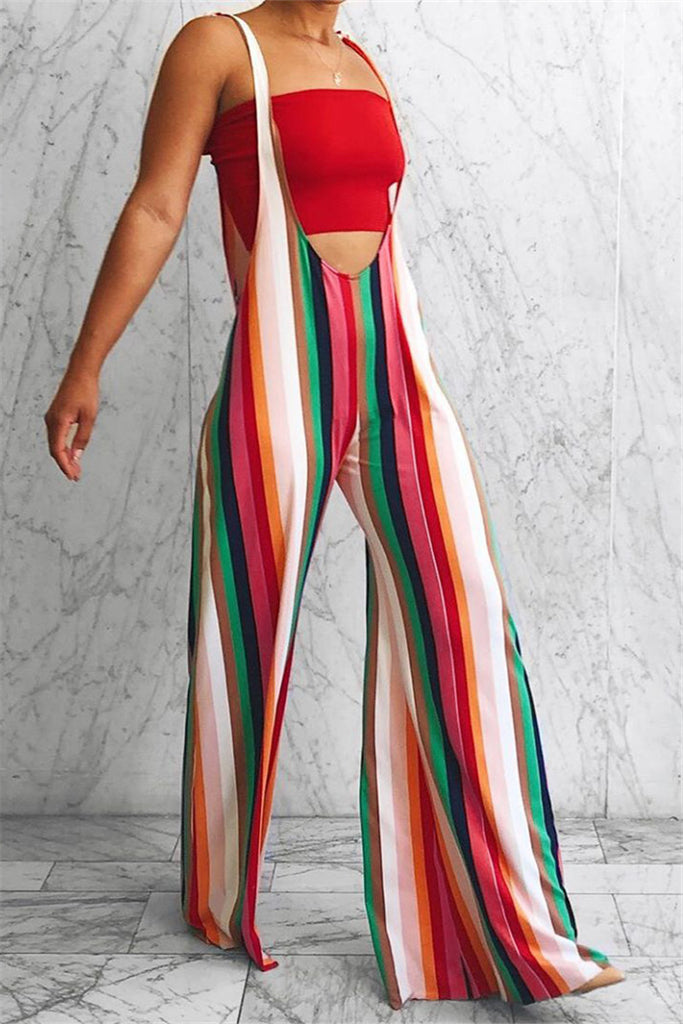 Colorful Stripe Tie Up Casual Overalls