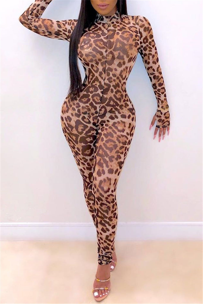 Leopard Print Long Sleeve Sexy Jumpsuit