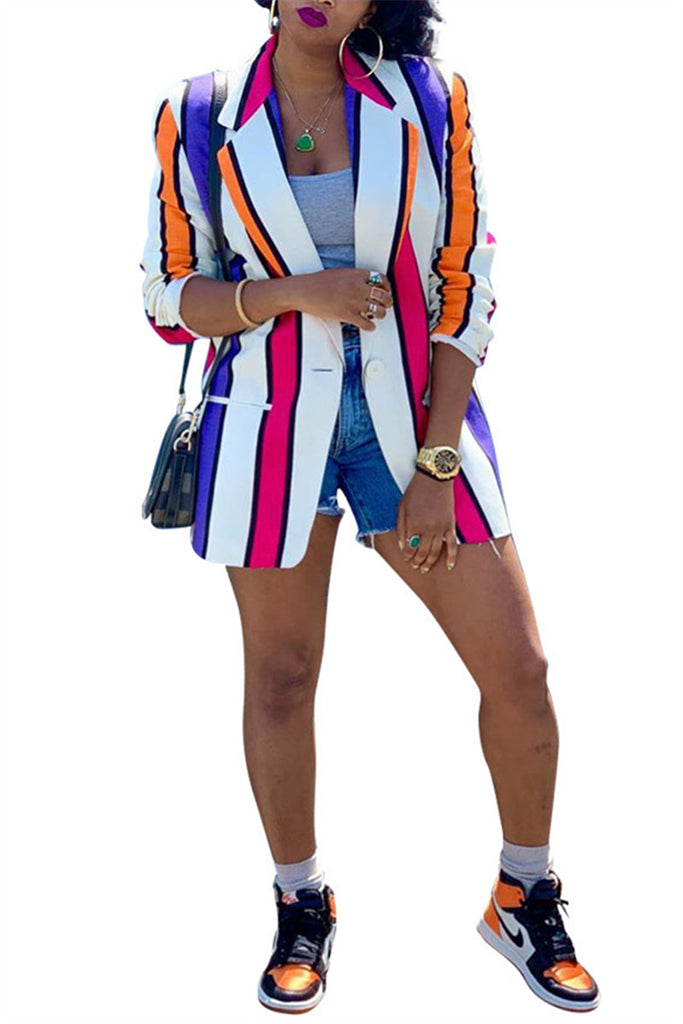 Rainbow Stripe Long Sleeve Blazer