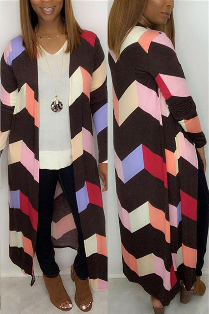 Chevron Print Long Sleeve Casual Coat
