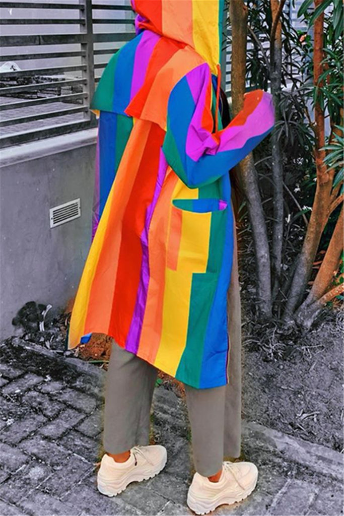 Rainbow Stripe Hooded Collar Casual Coat