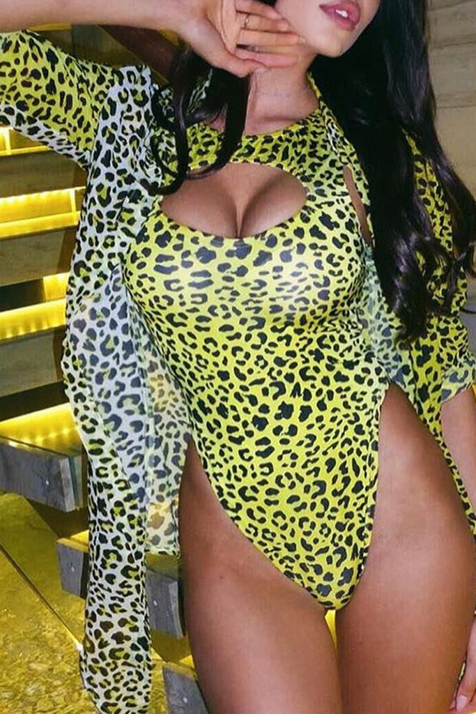 Hollow Out Leopard Print One Piece Swimwear & Cover Up