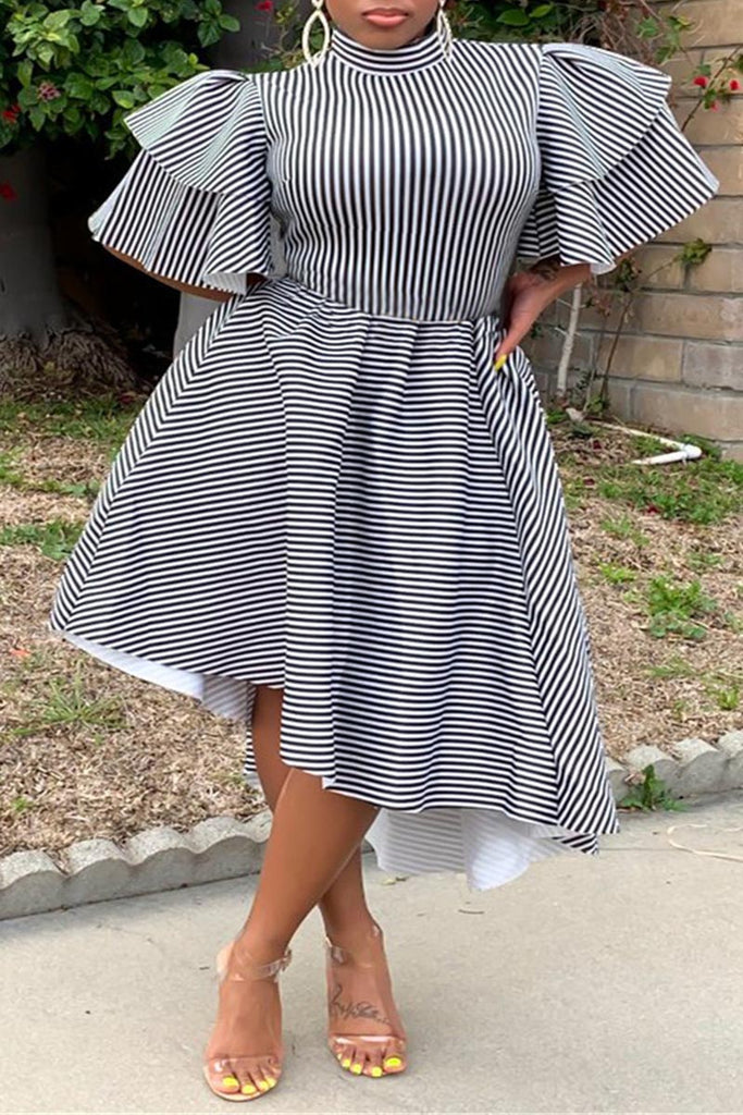 High Neck Flounced Striped Asymmetric Hem Midi Dress
