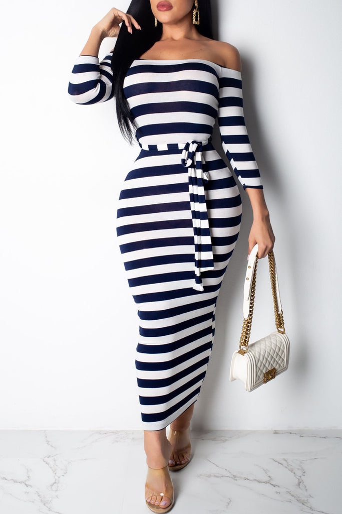 Off The Shoulder Stripe Print Belted Midi Dress