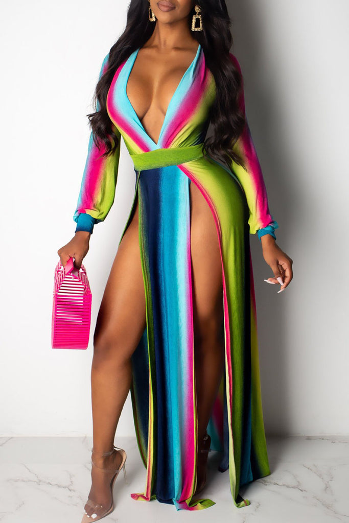Gradient Print High Slit Deep V Neck Maxi Dress
