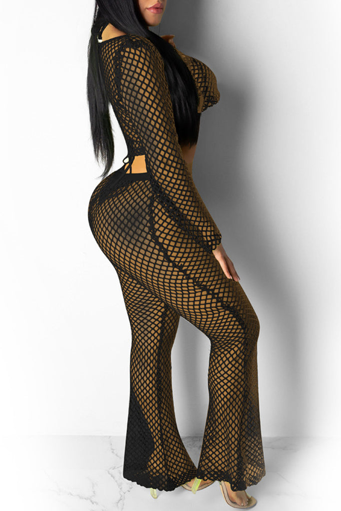 See-through Solid Mesh Two Piece Sets Without Underwear