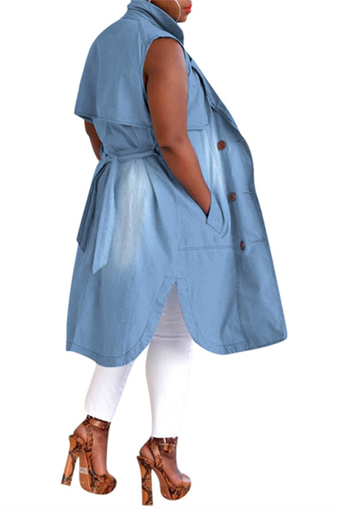 Sleeveless Pocket Denim Coat With Belt