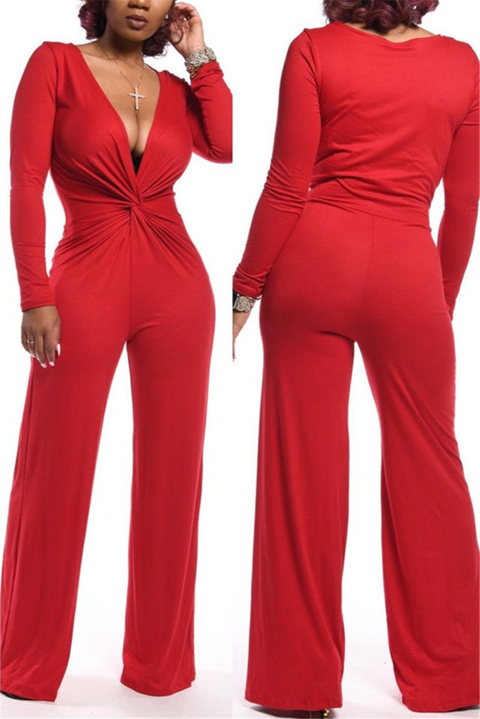 V Neck Solid Color Sexy Jumpsuit